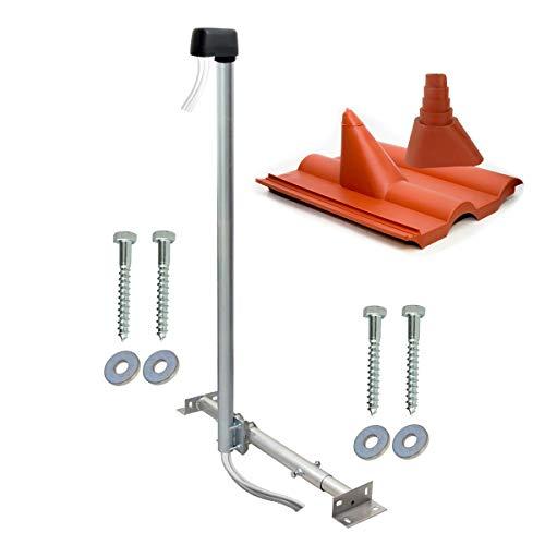 SkyRevolt Aufdachsparrenhalter SAT TV Dachsparrenhalter 120cm Kabel-Einführung Mast 48mm Aufdach-Sparren-Halterung für Satellitenschüssel | Antennen Dachmontage Zubehör-Set