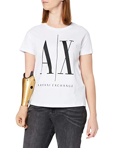 ARMANI EXCHANGE Icontee Logo T-Shirt, Bianco (White W/Black Print 5100), Small Donna