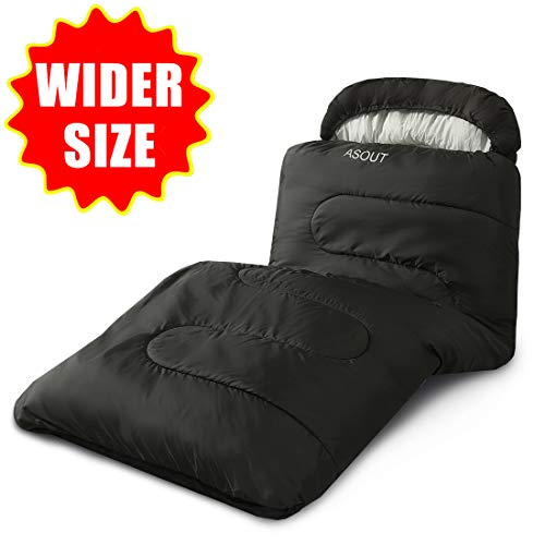 """ASOUT Sleeping Bag for Adults and Kids - Portable, Comfort, Extra-Wide Car Camping, Hiking, Backpacking, Great for 4 Season Warm & Cold Weather(40""""x87"""")"""