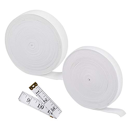 DanziX - Confezione da 2 fasce elastiche da cucito, 1,5 cm e 2,5 cm di larghezza, lunghezza 10 m, corda elastica in maglia resistente, con 1 confezione da righello, colore: bianco