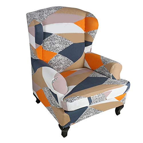 beiyoule Wing Back Armchair Covers,Stretch Wingback Chair Sofa Slipcover,Slip Resistant Stylish Jacquard Spandex Polyester Fabric Sofa Covers for Furniture Protector in Living Room
