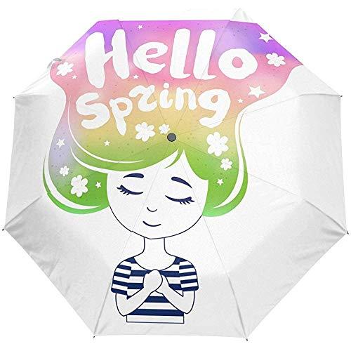 Hallo frühling nettes mädchen Auto öffnen schließen Sonne Regen Regenschirm