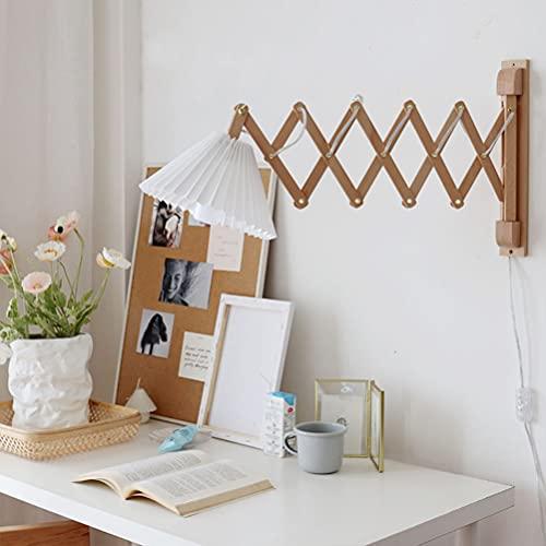 Apliques de Pared retro interior Lámpara de pared Madera y tela con interruptor, Lámpara de noche extensible Lámpara de lectura de pared flexible Lámpara de tijera ajustable Lámpara de dormitori