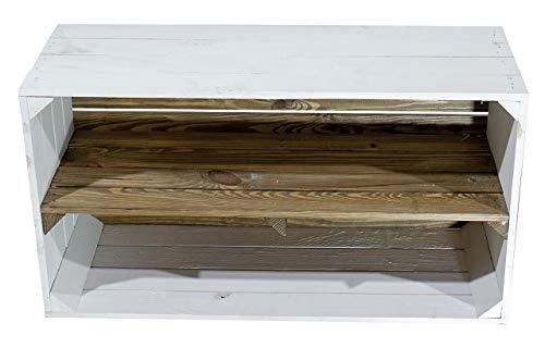 Moooble weißes Sideboard, Mittelbrett im Used Look | 74,5x40x31cm | breite Allzweckkiste, für Multimedia-Geräte sowie DVD's geeignet (4)