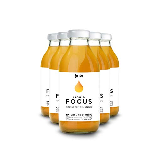 Brite - Natural Nootropic Drink for Better Focus & Productivity, Pineapple & Mango, 12 x 330ml