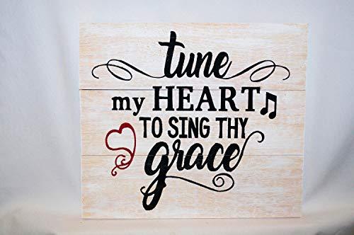 Ced454sy Tune mijn hart te zingen Uw genade Houten Teken Rustieke Ruw Zaagde Pine Inspirationele Song Christian Hymn Motivational Handmade