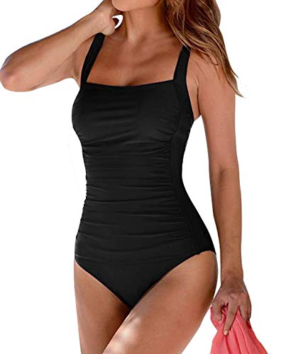 Leslady Damen Einfarbig Badeanzug Bandeau Monokini Figurformende Verstellbarer Schultergurt Badeanzüge Falten Bademode Schwimmanzug, Schwarz, EU 44-46 (XL)