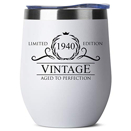 1940 80th Birthday Gifts for Women Men - 12 oz White Insulated Stainless Steel Tumbler w/ Lid - Vintage 80 Year Old Best Gift Present Ideas for Him Her - Tumblers Party Decorations Supplies Presents