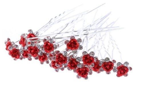 Accessoires cheveux mariage: 1 lot de 5 épingles à chignon fleurs à strass (Rouge)