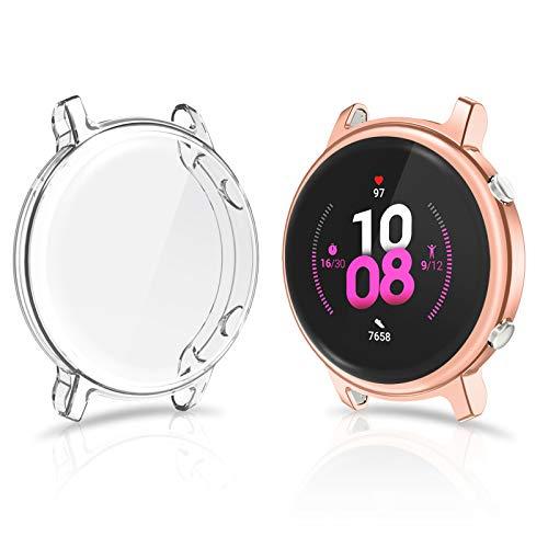 CAVN Hülle Kompatibel mit Huawei Watch GT 2 42mm Schutzhülle Schutzfolie [2-Stück], (Passt Nicht GT /GT2 46mm) Flexibles TPU Vollschutz Displayschutzfolie Kratzfest Displayschutz Schutz Hülle Gehäuse
