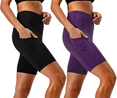 DEVOPS Women's 2-Pack High Waist Workout Yoga Running Exercise Shorts with Side Pockets (Small, Black/Dark Violet)