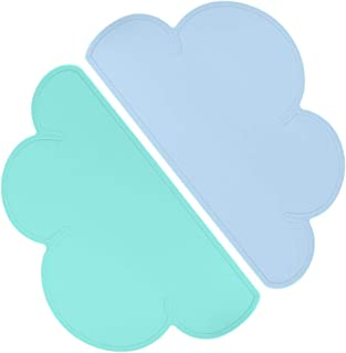 Bleu Clair Homcomodar Sets de Table Silicone Lot de 4 Tapis de Table Lavables Sets de Table R/ésistant /à La Chaleur pour Table /à Manger