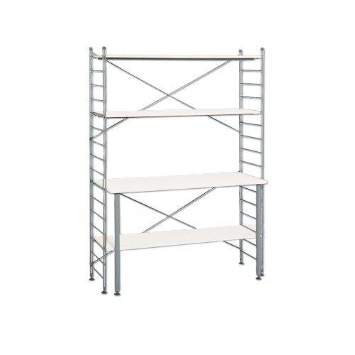『ニッセン ラック付ワーキングテーブル/サイズ【122cm幅高さ165cm】 / 色【白】』の1枚目の画像