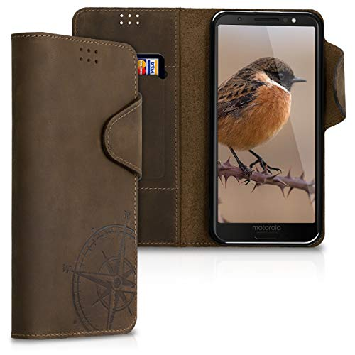 kalibri Wallet Hülle kompatibel mit Motorola Moto G6 - Hülle Leder - Handy Cover Handyhülle Kompass Vintage Braun