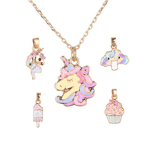 SHUSHU Collier licorne avec 5 pendentifs interchangeables pour fille - Bijou arc-en-ciel.