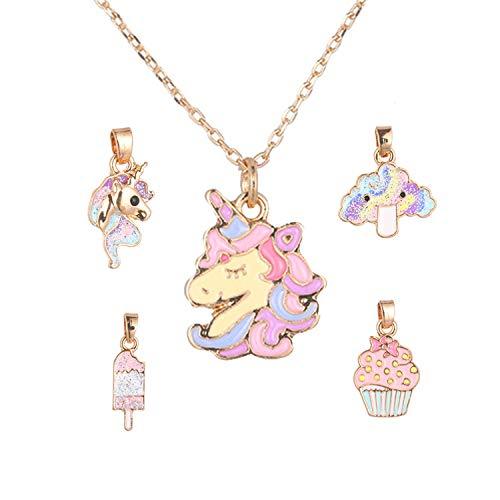 Shushu, collana con unicorno con 5 ciondoli intercambiabili per bambine e ragazze