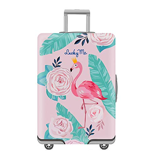 Travel Luggage Cover, Flamingo Spandex Protective Suitcase Cover Elastic Anti-Scratch Washable Cover Protector(L : 19-21 inches)