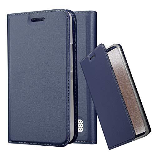 Cadorabo Hülle für Sony Xperia E1 - Hülle in DUNKEL BLAU – Handyhülle mit Standfunktion & Kartenfach im Metallic Erscheinungsbild - Hülle Cover Schutzhülle Etui Tasche Book Klapp Style