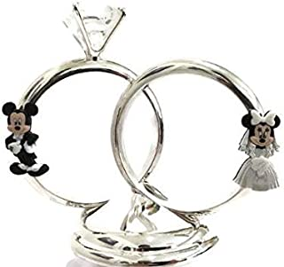 Mickey Mouse and Minnie Mouse Wedding Silver Diamond Ring Cake Topper Decoration Keepsake