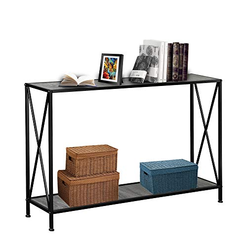 Entryway Console Table Sturdy Steel Frame Sofa Table with Storage Shelf, Easy Assembly for Household, MDF Wooden Top Grey