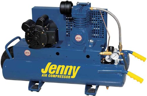Jenny K15A-8P Single Stage Wheeled Portable Electric Motor Air Compressor with K Pump, 8 Gallon Tank, 1 Phase, 1.5 HP, 115V