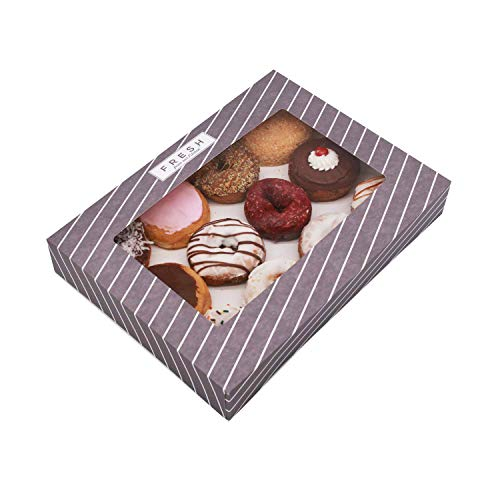 Donut Box Hold 12 Standard Donuts, Great for Bakery, Pies, Cupcake, Cake Boxes Heavy Duty with Window Donuts Boxes 16 x 12 x 2.25 Inch, Made in USA, 10 Packs