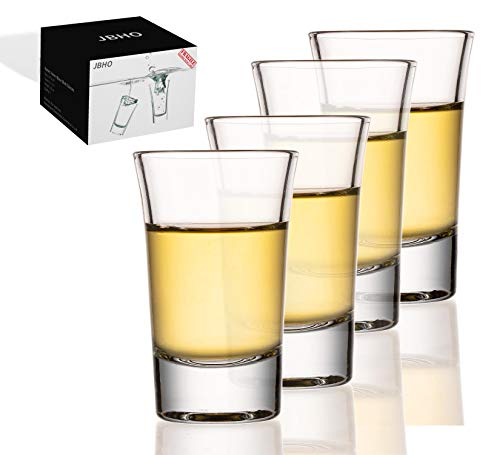 JBHO Heavy Base Shot Glass Set,1.5 Ounce,Set of 4,Giftable Packing for Whiskey, Tequila, Vodka and...