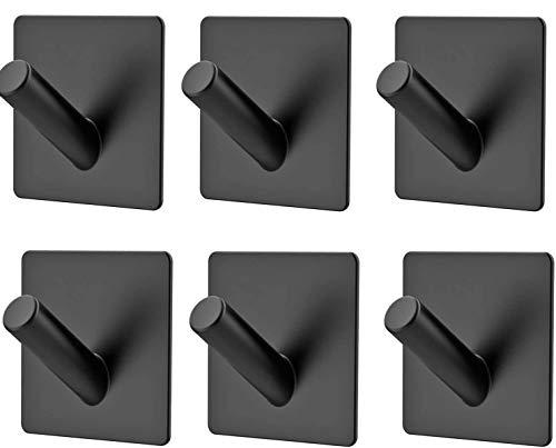 Ganchos Adhesivos 6 Piezas Gancho de Pared 304 Acero Inoxidable Ganchos para Colgar Adhesivos Negro Colgador Toallas Cocina para Baño y Cocina Oficina