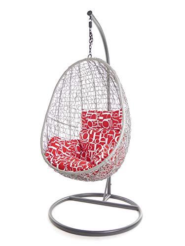 Kideo Juego completo: sillón colgante con cojín y estructura, muebles de interior y exterior, color de la estructura y la cesta: gris, cojín nido (cojines: letras rojas y blancas).