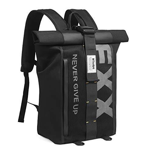 Xnuoyo Roll Top School Bag Zaino Da Viaggio Antifurto Per Laptop Per Uomo E Donna, Zaino Impermeabile Pieghevole Superiore Di Grande Capacità, Adatto Per Laptop Da 15,6 Pollici (Nero)