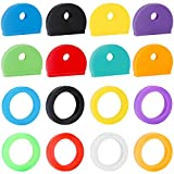 Vibit 16 Pack Key Caps Covers Tags Set Plastic Key Identifier Coding Rings in 8 Assorted Colors, 2 Styles