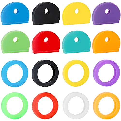 Uniclife - Juego de 16 tapas para llaves, etiquetas, anillos de codificación de identificación de llave de plástico en 8 colores surtidos, 2 estilos