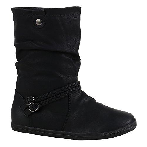 Damen Schuhe Stiefeletten Bequeme Schlupfstiefel Flache Übergangs-Schuhe 155879 Schwarz Schwarz Schnallen 36 Flandell