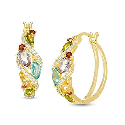 Ani's Pendientes de aro en cascada de piedras preciosas multisimuladas para niñas en oro amarillo de 18 quilates chapado en plata de ley 925