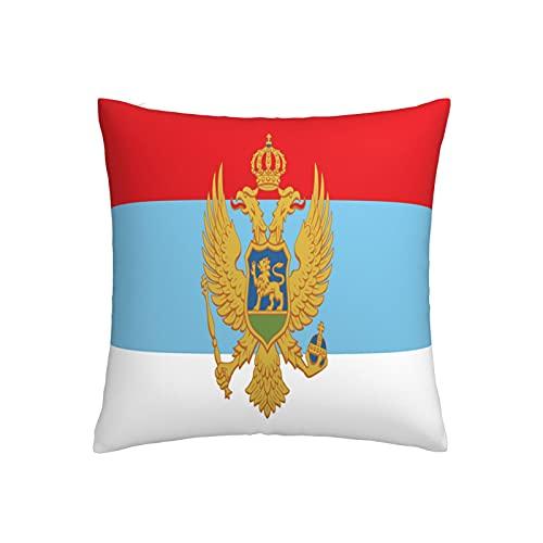 Kissenbezug, Motiv: Flagge Montenegro, quadratisch, dekorativer Kissenbezug für Sofa, Couch, Zuhause, Schlafzimmer, für drinnen & draußen, 45,7 x 45,7 cm