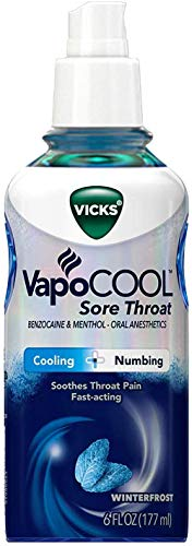 Vicks VapoCOOL, Sore Throat Spray, Relieves Painful Sore Throat, Fast-Acting, Soothing, Powerful Numbing & Cooling, Winterfrost Flavor, 6 Fl Oz