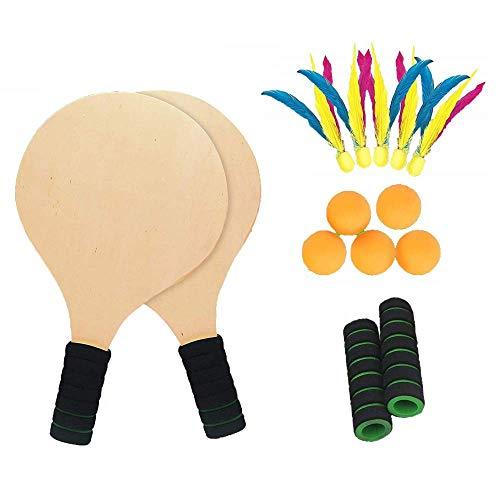 Twiddlers Juego Kit De Raquetas Palas Badminton Playa con Volantes - 2 Madera Cricket Tenis Bádminton Paleta Conjunto 5 Bolas Pingpong - Actividad en Interiores y Exteriores - Deportes Juegos