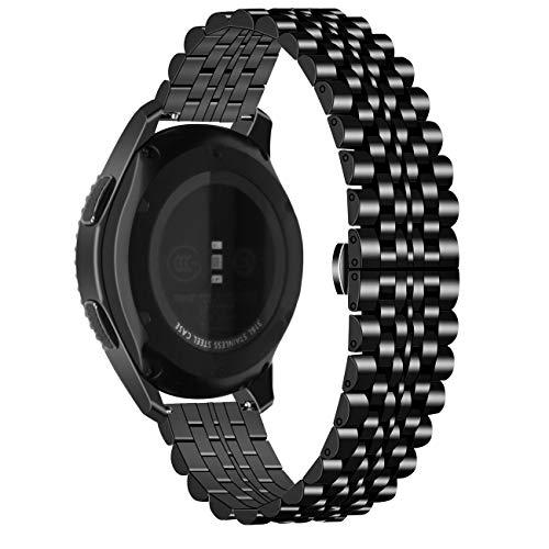 Juntan Liberación Rápida Correa Reloj Compatible for Galaxy Watch 46mm, Galaxy Watch 3 45mm Gear S3 Frontier Classic Correas Reloj 22mm Acero Inoxidable Reloj Pulsera Negro