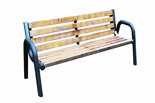 Sitzbank für Garten, Vorgarten, Park, Stadt, Gemeinde, Dorf, Massiv und Robust, Holz, Stahl PRIMARIO (Eiche 100cm,125cm,150cm,175cm,200cm (175)