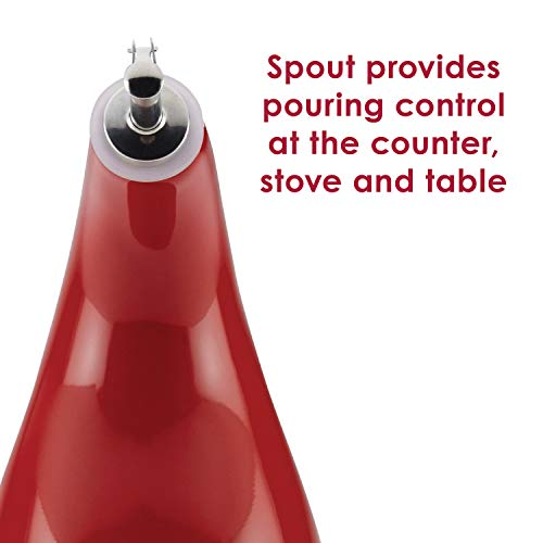Rachael Ray Solid Glaze Ceramics EVOO Olive Oil Bottle Dispenser with Spout - 24 Ounce, Red