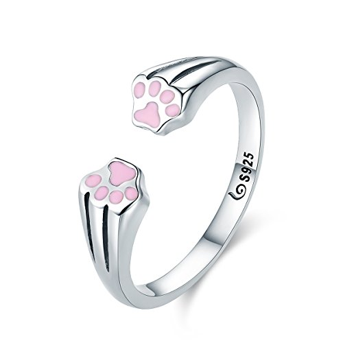 Nueva colección 100% plata de ley 925 Animal mascota Perro Gato huellas huellas de dedo anillo para mujeres compromiso joyería