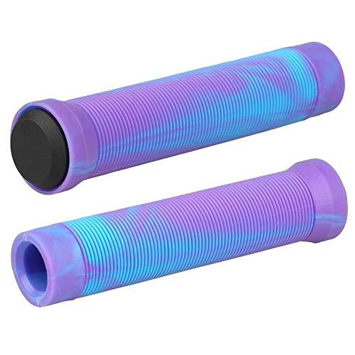 QXYOGO PuñOs Bicicleta Stunt Vespa Grips Grips BMX Suave Bicicletas puños del Manillar Puños Antideslizante apretones de Bicicletas 05 (Color : Blue and Purple)