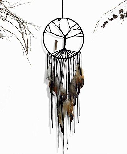 Atrapasueños grande tradicional hecho a mano con plumas de piedra natural para colgar el árbol de la vida atrapasueños, para colgar en la pared, decoración del coche, regalo para mantener las