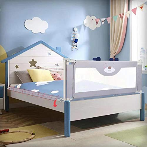 Upgrade Bed Rails for Toddlers Vertical Lifting Bed Guardrail for Kids, Extra Tall Collapsible Baby Bed Rail Guards with Double Lock Fit Twin,Double,Full Size Queen & King Mattress (1 Side) (59' L)