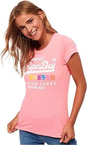 Superdry Damen T-Shirt PREMIUM GOODS PUFF ENTRY TEE, Rosa (Neon Pink Snowy ZV0), 38 (Herstellergröße: S)