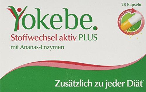 Yokebe Plus Stoffwechsel Aktiv Kapseln, unterstützen den Stoffwechsel, hochdosierter Vitamin B Komplex, Ananas Enzym, unsere Empfehlung zu jeder Diät, (1x28 Kapseln)