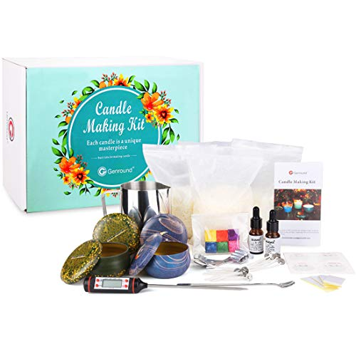 Candles DIY Kit, Genround Candle Making Kits for Adults Full Beginners Set 30pcs Includes Natural Soy Wax, Capacity Pot, Wick, Wick Holder, Dye, Candle Fragrance, Tin Can, Spoon, Thermometer