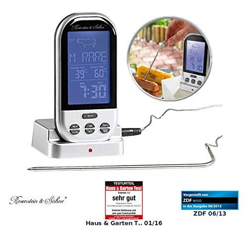 Rosenstein & Söhne Bratenthermometer: Funk-Brat-/Grillthermometer, externes XXL-Display, 8 Fleischsorten (Funk Bratenthermometer)
