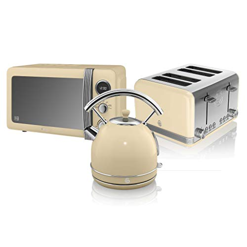 Swan, Retro Kitchen Kettle and Toaster Set, 1.8L Dome Kettle, 4 Slice Toaster, (Cream)