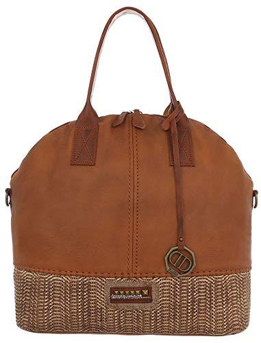 Dudlin Modische Schultertasche mit Flechtmuster, mit großem Hauptfach und mehrere Innentaschen, Shopper Tasche Shopperbag Umhängetasche (braun)